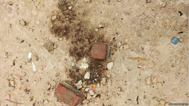 Where Anish's blood had fallen, there are blood stains even after 5 days of the incident.