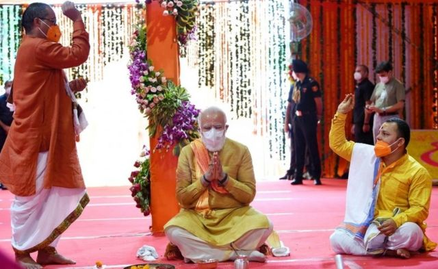 Narendra Modi laid the foundation stone of a Hindu temple on the site of the Babri Mosque