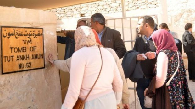 Entrada a la tumba de Tutankamón en el Valle de los Reyes.