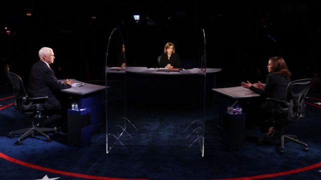 From the debate between the US vice presidential candidates in the 2020 election, Republican Mike Pence, and Democrat Kamala Harris