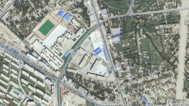 위성으로 본 2019년 중국 신장 호탄지역 재교육 캠프 사진
