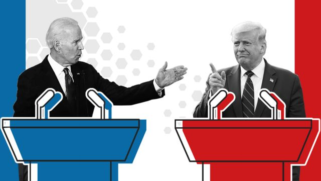 Promotional image of Trump and Baden debate