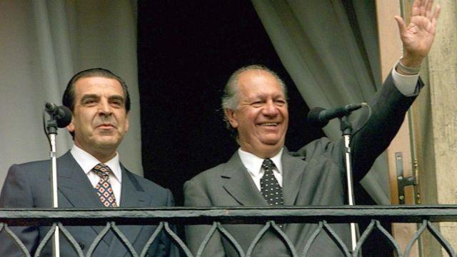 Los ex presidentes Eduardo Frei y Ricardo Lagos, ambos líderes de la Concertación.