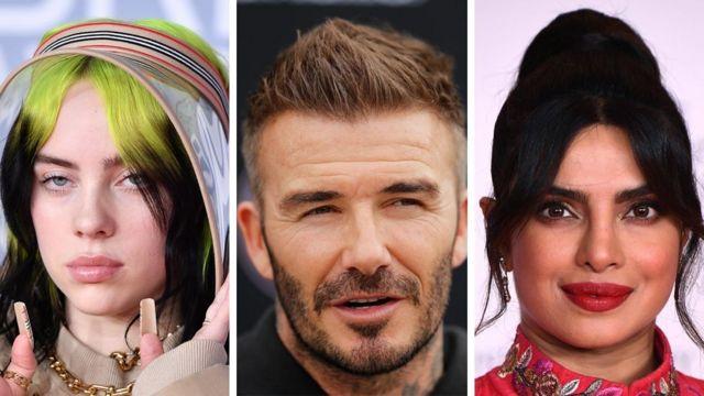 From left: Billie Eilish, David Beckham and Priyanka Chopra Jonas.