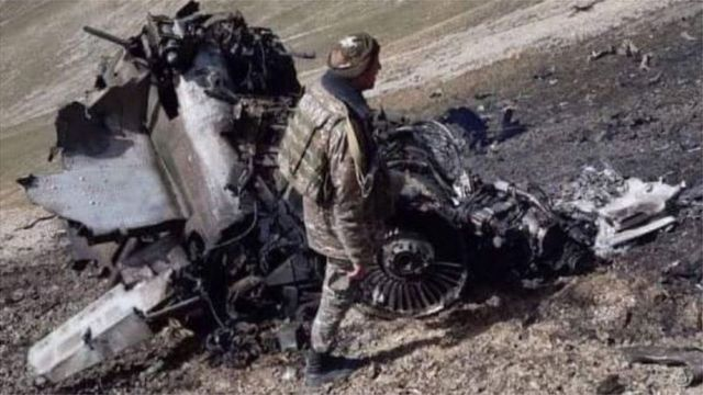 The photo released by the Armenian Ministry of Defense of the Sukhoi-25, which it said was shot down by a Turkish F-16