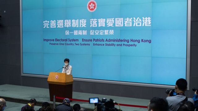 Hong Kong Chief Executive Carrie Lam speaks during a press conference at the Central Government Offices in Hong Kong, China, 11 March 2021.