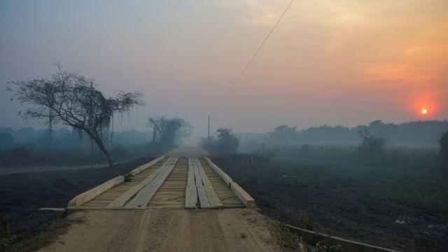 Estrada rústica no Pantanal rodeada por fumaça, com floresta e sol ao fundo
