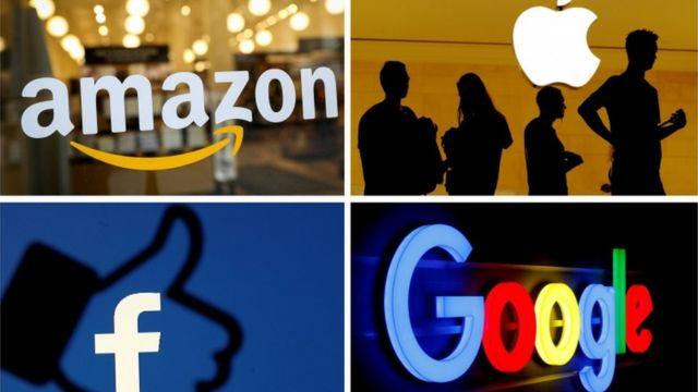 Losgos de Amazon, Apple, Facebook y Google.
