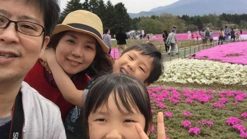 Yumiko Suzuki with her husband and two children