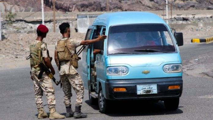 A checkpoint for the Transitional Council forces near Aden