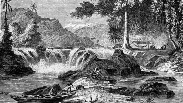 Grabado de un río en la Guyana Británica