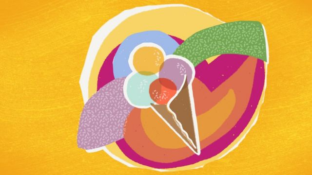 Abstract illustration of an ice cream cone with differently flavoured scoops of ice cream