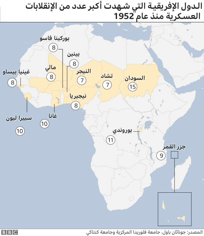 Map of Africa in terms of countries where the coup attempts took place. May 2021