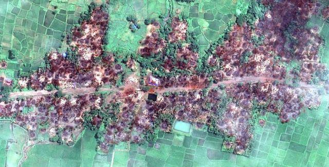 Sawir lagu soo qaaday satellite-ka oo muujinaya dhibaatada loo geystay muslimiinta Rohingya ee Myanmar