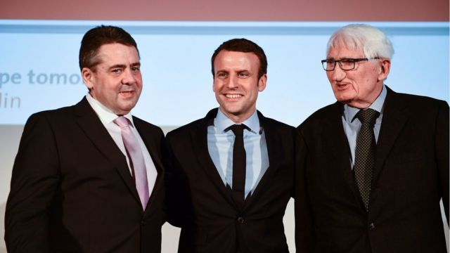 Philosopher Habermas alongside French President Emmanuel Macron (when he was running for president) and former German Foreign Minister Sigmar Gabriel at a symposium on the European future