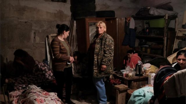 Residents, including children, took shelter in bomb shelters in the capital, Stepanakert