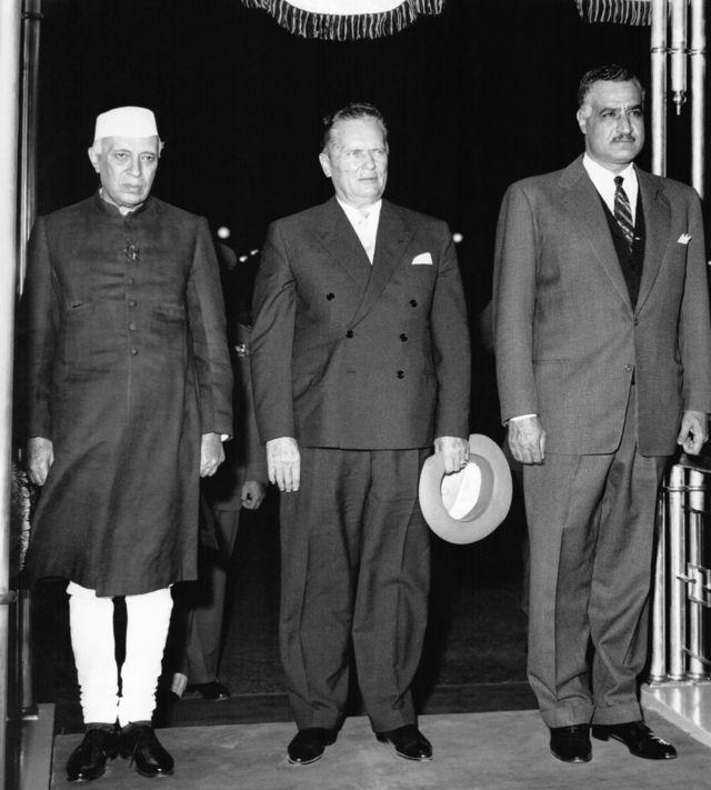 Abdel Nasser with Yugoslav President Tito and Indian Prime Minister Nehru