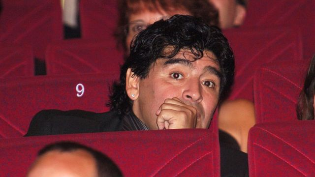 Maradona watches the screening of Kusturica at the Festival de Cannes