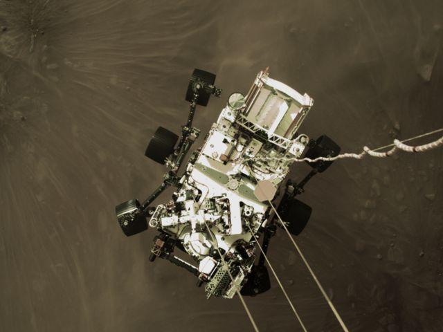 Mars Perseverance Descent Stage - imagem da câmera