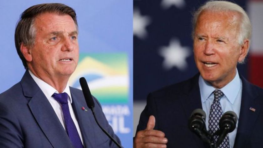 Montage with photos of Bolsonaro and Biden side by side