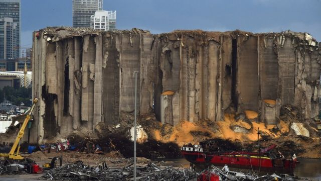 The ruins left by the explosion site in Beirut Port in November 2020.