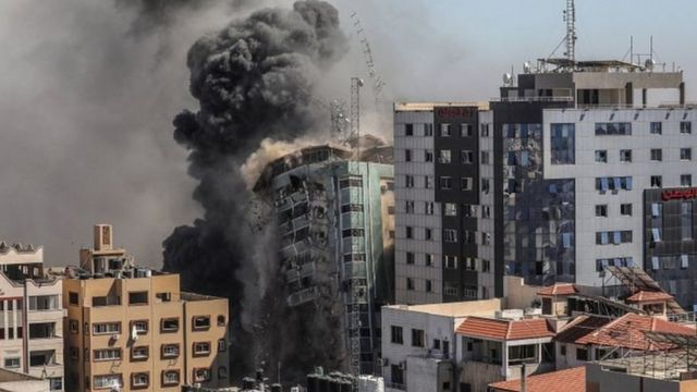 Israel destroyed Al-Jalaa Tower