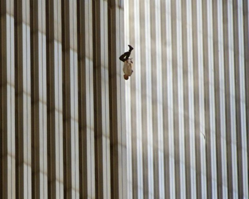 """Photograph """"The Falling Man"""" (The Falling Man), by Richard Drew (Associated Press), shows an unidentified man falling from a World Trade Center tower in the September 11, 2001 attacks"""