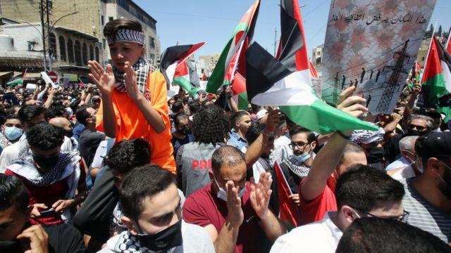 Protestas a favor de los palestinos en Jordania.