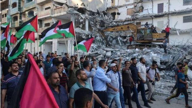 A march in Gaza to protest the Israeli flags march in Jerusalem