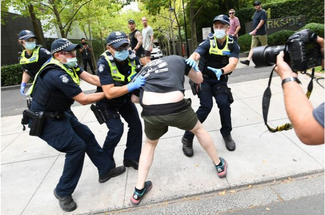 Australian police clashed with anti-vaccine protesters in Melbourne.