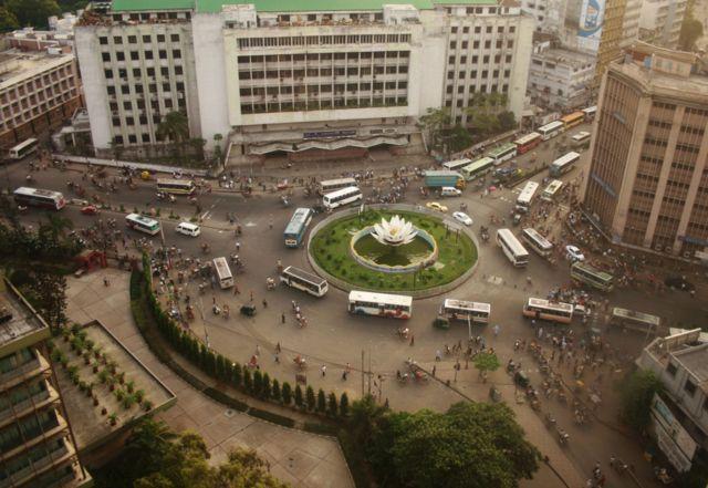 방글라데시은행 건물 상층에서 내려다 본 풍경