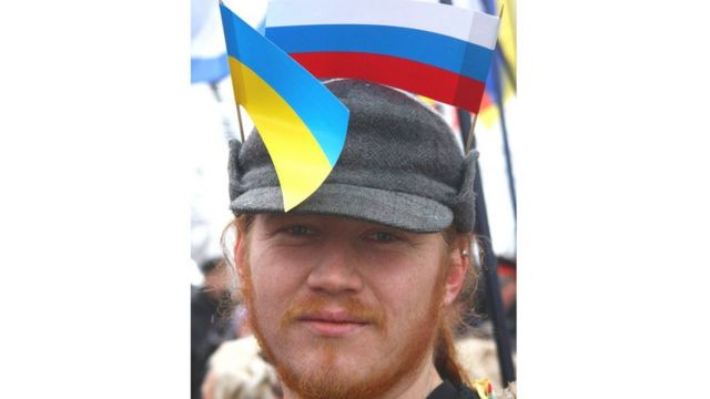 Російський та український прапор