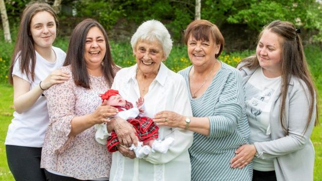 The six generations in the family, the oldest of whom is Mary Marshall, 86, and the youngest, Naila, two weeks