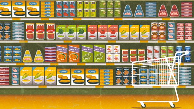 Illustration of a shop shelf filled with colourful products