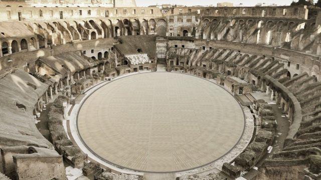 The new floor of the Roman Theater