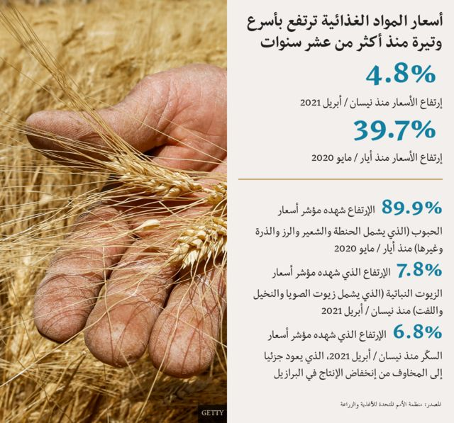 An illustration of rising food prices أسعار