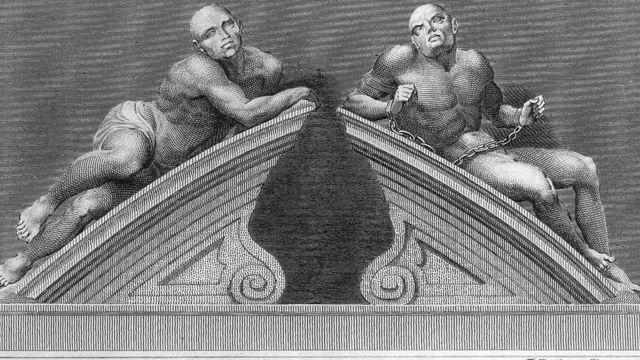 """كان تمثالا """"الحزن"""" و """"الهذيان""""، اللذين يُعتقد أنها وجهان للمرض العقلي، يتوجان بوابات الدخول إلى المستشفى"""