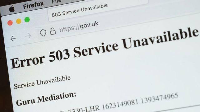 Señal de error en la página oficial del gobierno de Reino Unido