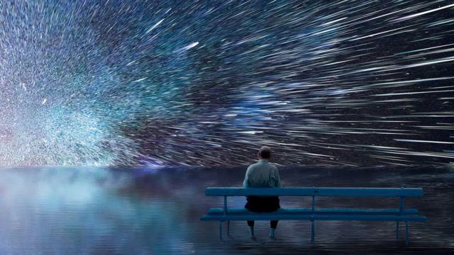 Ilustração de pessoa observando céu