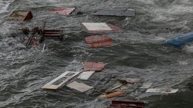Restos de un barco naufragado en San Diego