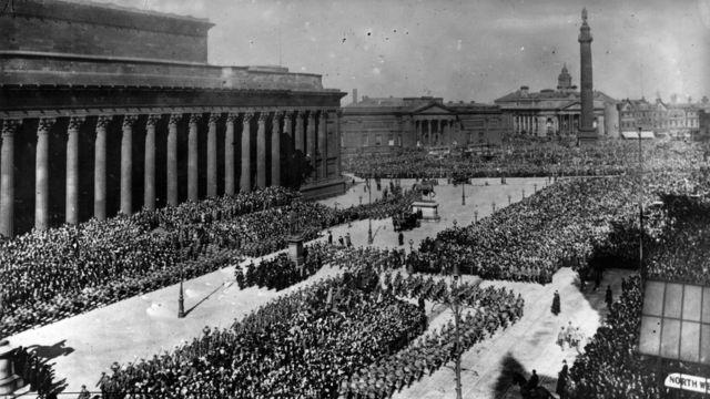 Парад участников Первой мировой войны в Ливерпуле. 1915 год