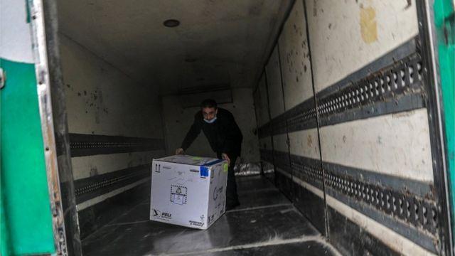Sputnik V vaccines upon arrival in the West Bank