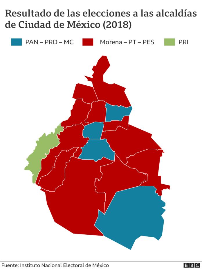 CDMX mayoralty map 2018