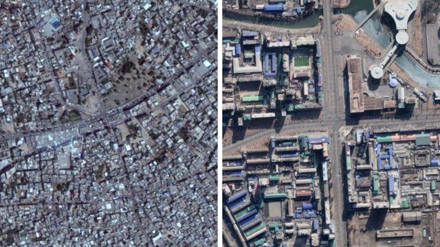 가자의 구글 어스 이미지(왼쪽), 북한 평양의 최신 이미지(오른쪽)