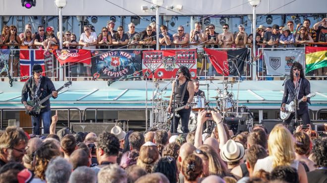 Rock band Kiss performing on a Kiss Kruise