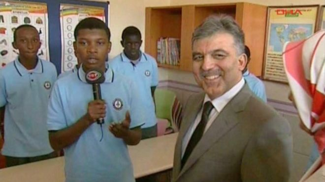 The Turkish government used to support the Gulen schools; here former Turkish president Abdullah Gul attends the opening of the Light Academy in Nairobi in 2008