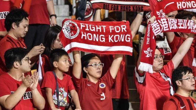 Hong Kong fans at the World Cup qualifying match between Hong Kong and Qatar, in Hong Kong