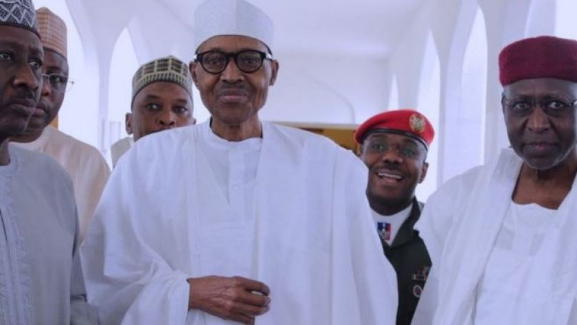 President Buhari appearing at the presidential villa on 5 May, 2017