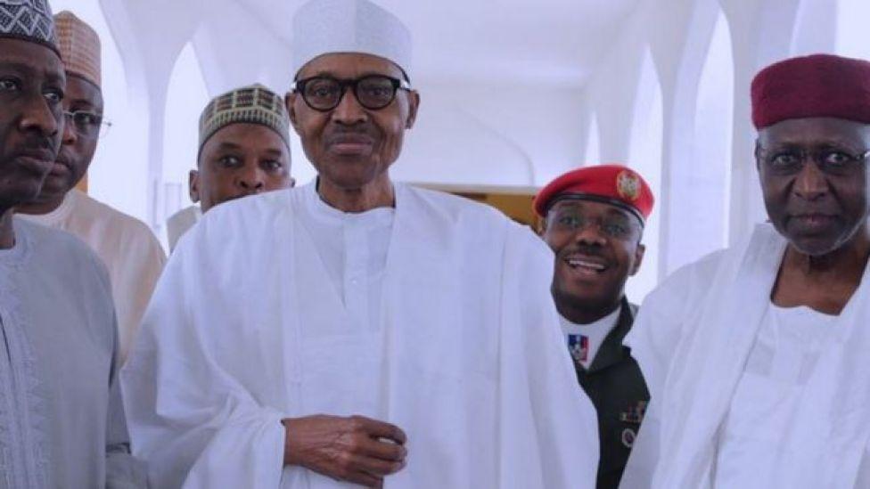 President Buhari appearing at the presidential villa on 5 May, 2017