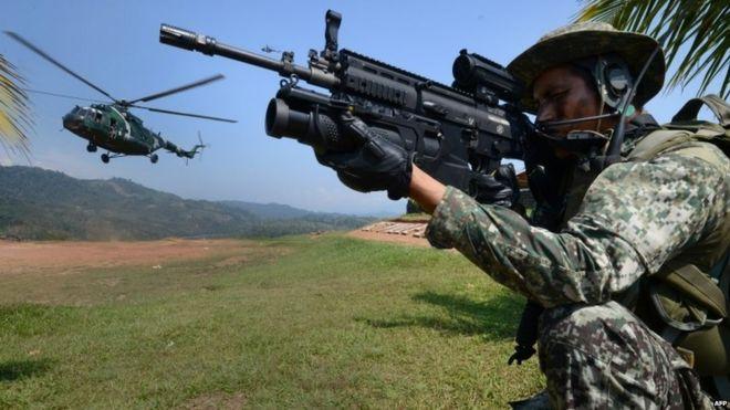 Peruvian army in the Vraem area